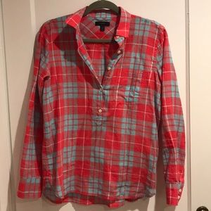 Jcrew red and blue plaid pull over button shirt.